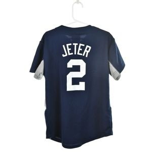 detailed look 89d8e 92186 Majestic Navy Blue & Gray Yankees Jersey